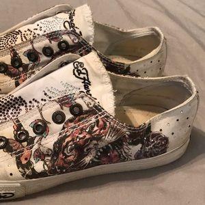 Ed Hardy Tiger No Tie Rhinestone Sneakers - Size 9
